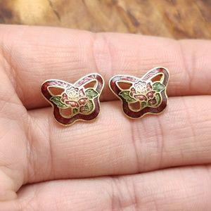 NWT Vintage cloisonne butterfly rose red enamel